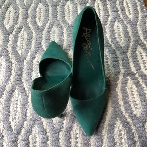 Alice and Olivia Green Suede Pumps